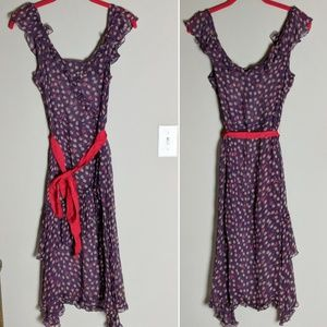 Marc Jacobs Silk Purple Patterned Red Sash Dress 6